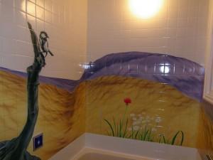壁に絵が描かれたお風呂(通常)